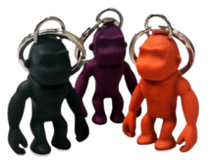 3D rubber monster miniature figurine keyrings.