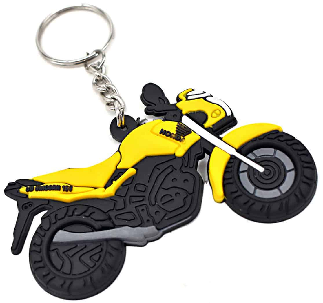 Custom pvc keyring with 2D shape of motorbike.