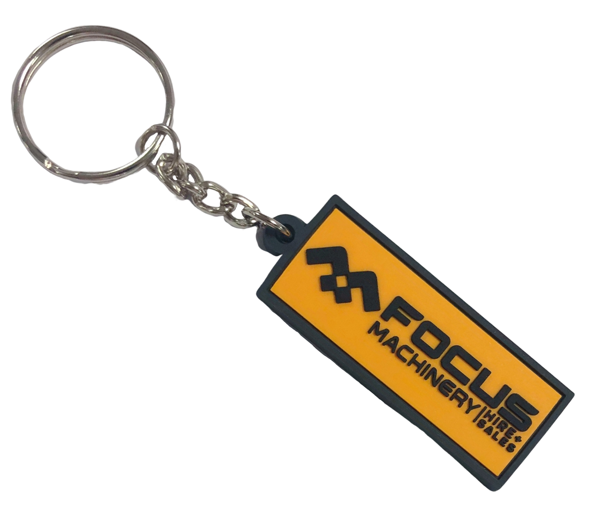 Personalised rubber keyrings for machinery hire and sales company with 2 colour 2D logo on thefront.