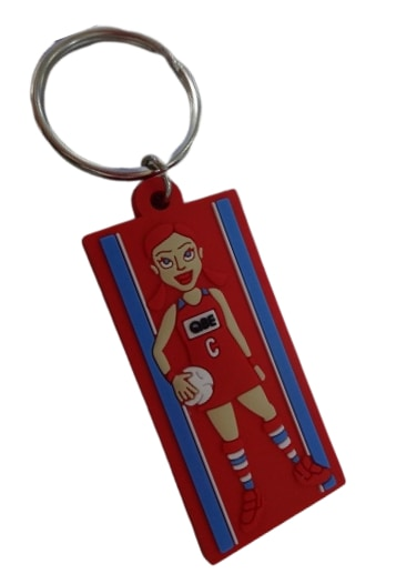 Rubber keychains for netball team with 4 colour 2D logo on the front side.