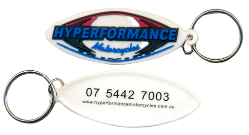 Custom rubber keyrings for motorcycle dealership with 4 colour 2D logo on front and 1 colour print on back side.