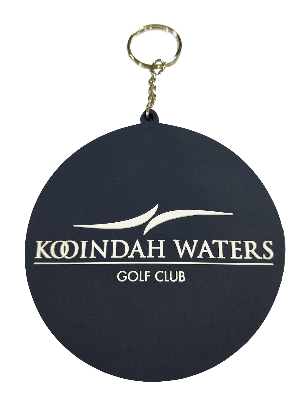Circular personalised rubber keyrings for a golf club with 1-colour logo on the front in 2D.