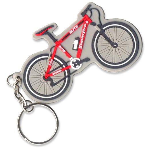 Custom rubber keyring in the shape of a mountain bike with a 3-colour on the front in 2D effect.