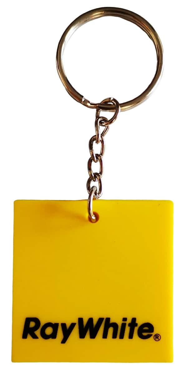 Square custom rubber keyring with 1 colour print on the front. This design is for Ray White real estate company.