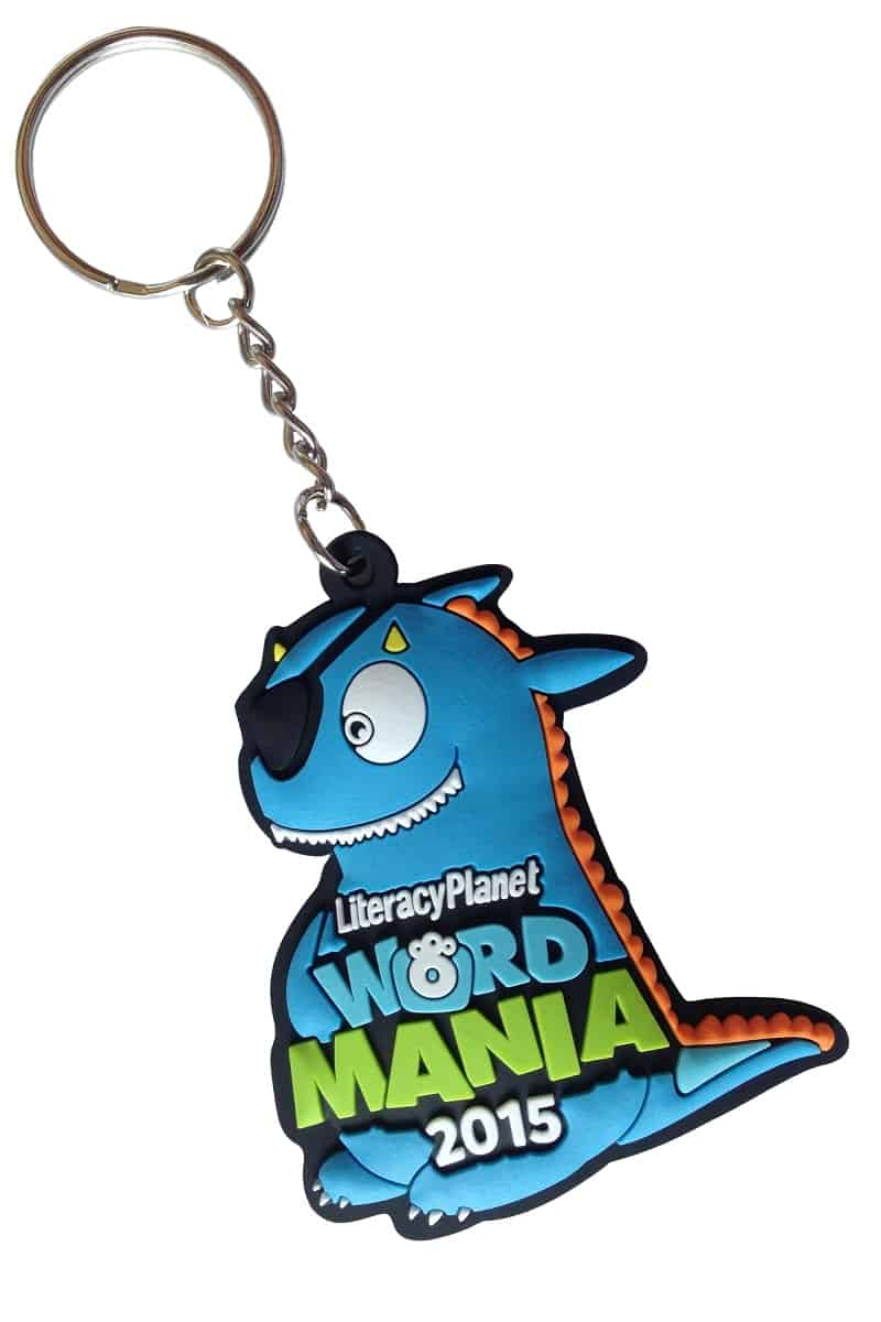 Rubber key rings for a childrens literacy and learning company. It features a high resolution 2D logo.