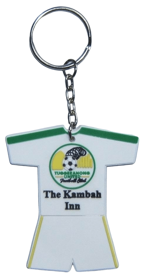 Sport shirt shaped personalised rubber keyrings for a football team with 3 colour-2D-logo on the front side.