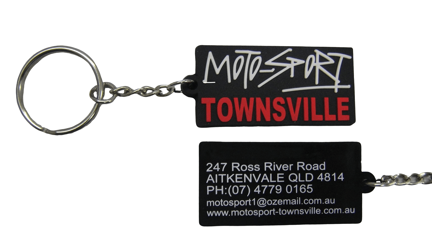 Custom rubber keychains for motorcycle shop with 2D logo on the front and 1 colour print on the back.