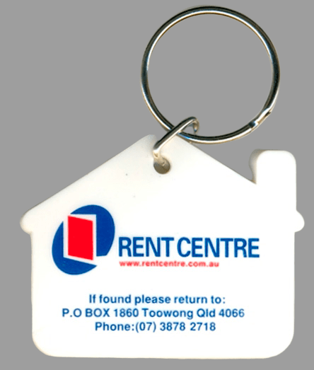 Rubber keyrings for a property management company with 2 colour printed logo on the front.