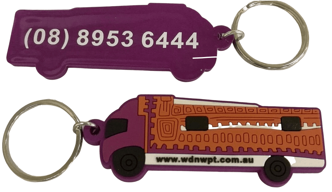 Custom rubber keychain for indigenous organisation with 3 colour 2D logo on the-front and 1 colour printed telephone number on the back.