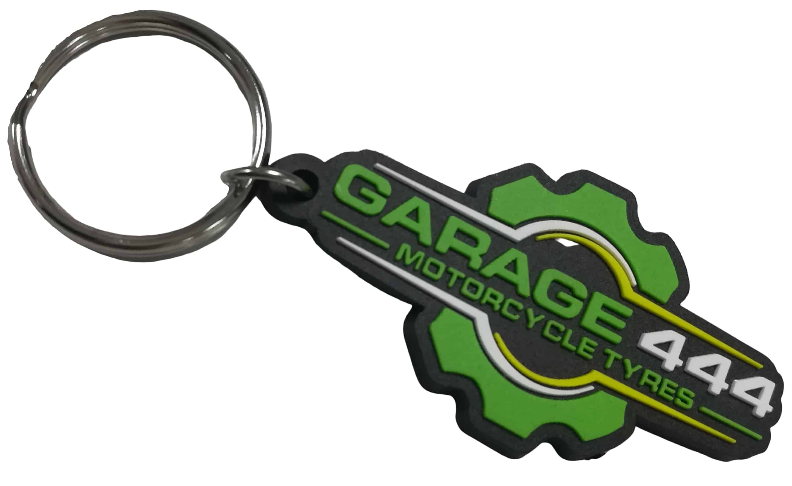 Custom rubber keychains for a motorcycle tyre shop with 3 colour logo in 2D on the front.