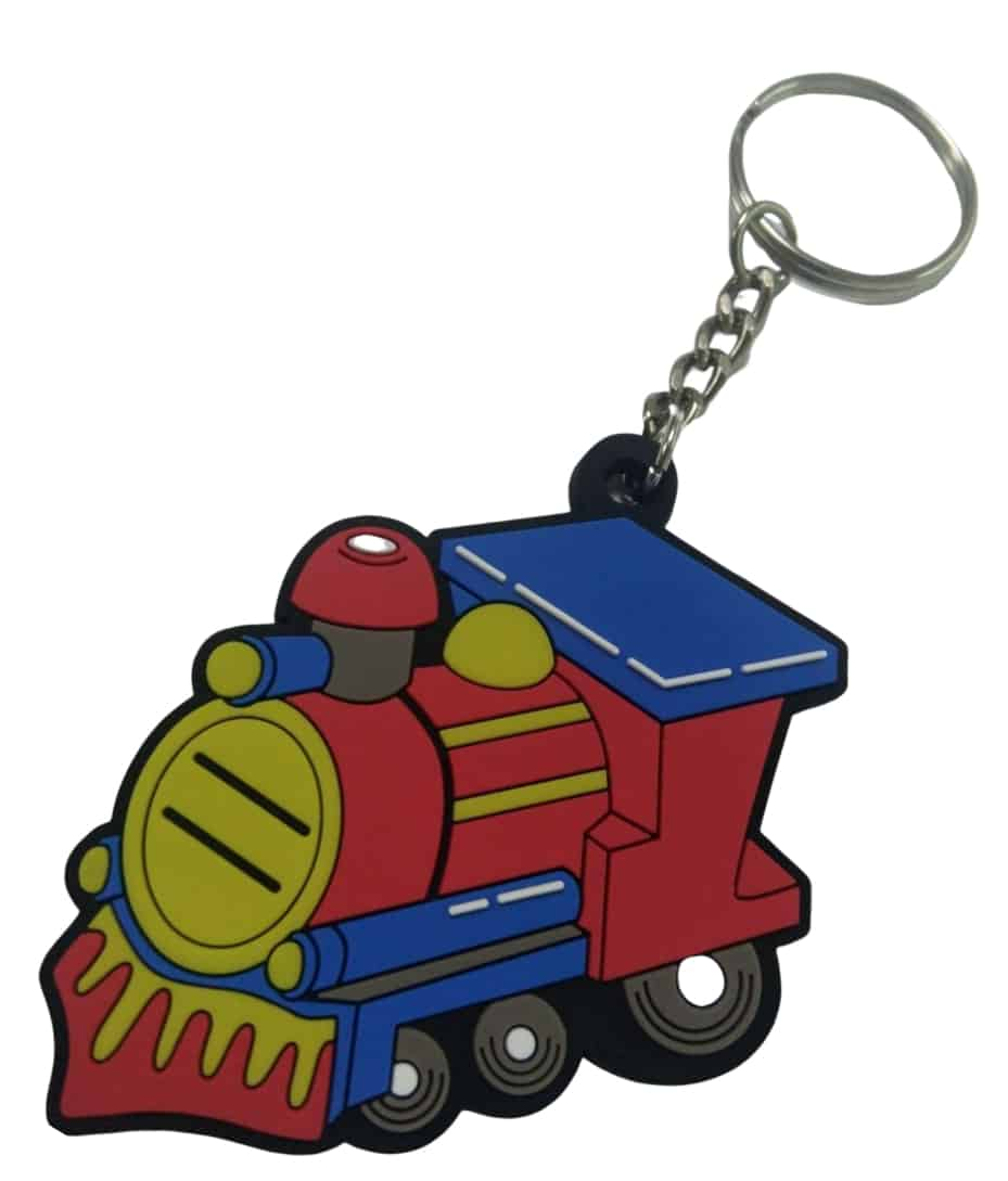 Personalised rubber keyrings in shape of train a for a sushi eatery a with a brilliant 2D logo in 6 colours.