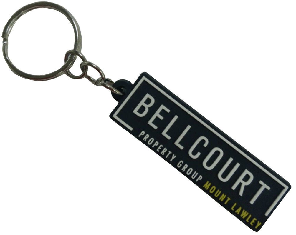 Rubber keyrings with a 2 colour 2D logo for a real estate company.