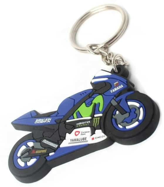 3D personalised rubber keyring in shape and logo of a racing motorcycle.