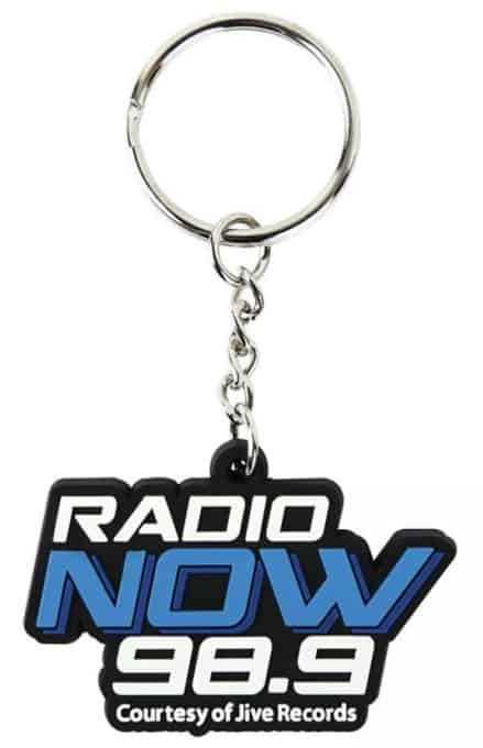 Personalised rubber keyrings for a radio station with a 2 colour 2D logo on the front.