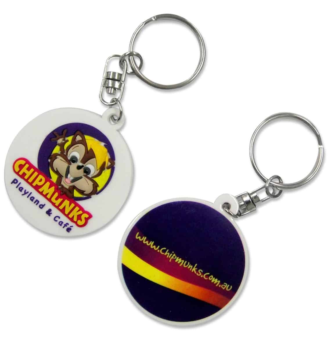 Circular custom rubber keychains for an indoor childrens play centre. This design has an 8 colour 2D logo on the front and a gradient print on the back.