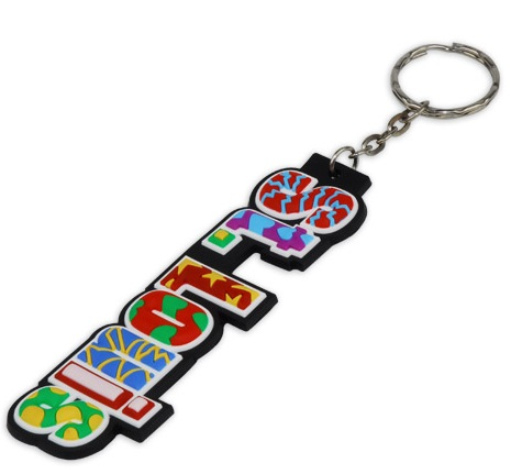 Custom rubber keyring with 2D lettering in multi colours to create an amazing visual effect.