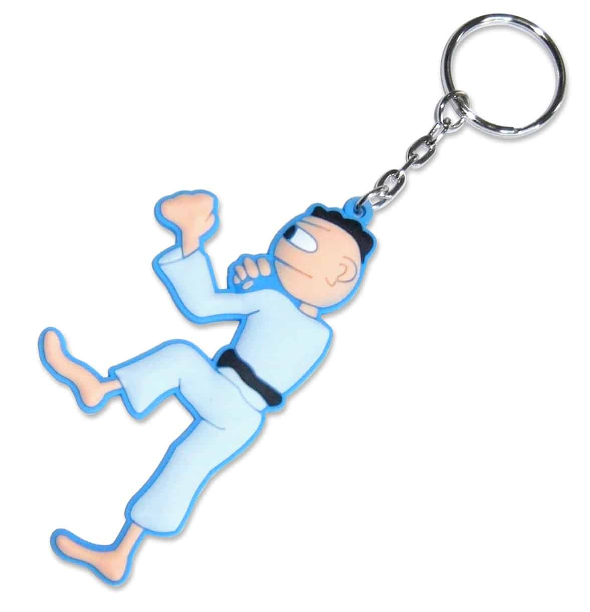 Custom rubber keyring in the shape of a ninja figure person.