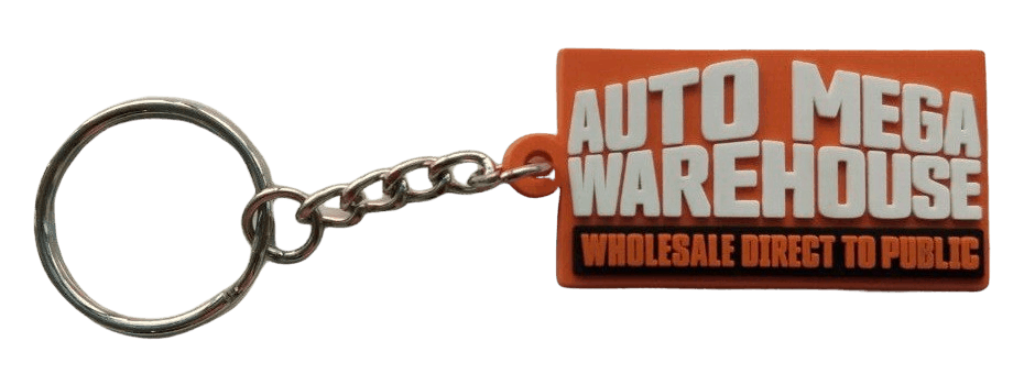 Custom rubber keyring for a large Melbourne car dealership. It featues a bold 2D logo on the front in 3 colours.
