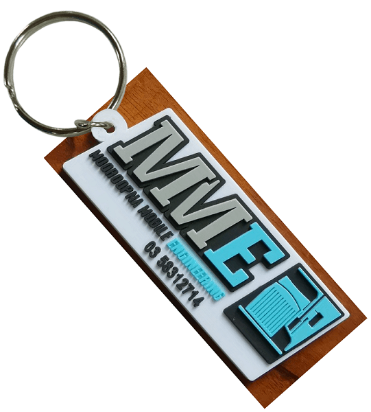 Custom rubber keyring for an engineering company. It features a 2D raised logo on the front.