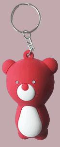 Red animal shaped miniature figurine keyring.