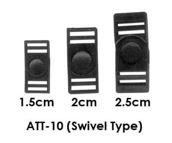 Black plastic lanyard breakaway clips with swivel functionlity. Theses are pictured in 3 widths, 1.5c, 2c, and 2.5cm.