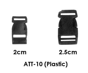 Att-10 black plastic lanyard breakaway clips. Theses are pictured in 2 widths, 2c, and 2.5cm.