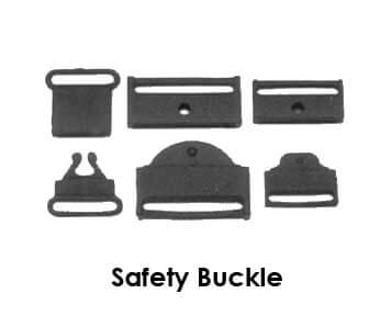 Black plastic lanyard breakaway clips. Also known as safety buckles. Three design options are pictured.