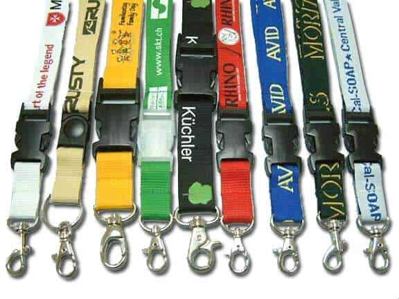 Various lanyards pictured with plastlic lanyard clips and metal swivel hooks.