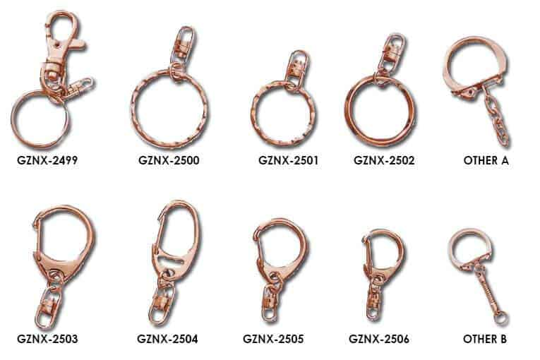 Metal keyring and keycain accessories in various styles, designs and sizes.