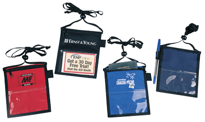 Trade Show Badge Holdes. Material: Polyester 600D/PVC. Dimensions: 13.0cm(W)x16.5cm(H). Imprint Area: 8CM x 4CM. Features: Two PVC clear ID holders. Open sleeve pocket. Adjustable & printable neck cord. Available colours: Black Navy Red Royal.