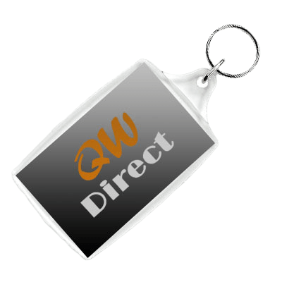 Printed rectangular acrylic keyring with example QW Direct logo inside.