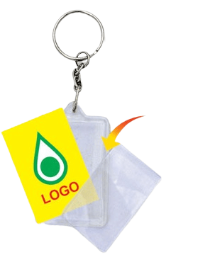 This shows how a logo insert is applied to a rectangular acrylic keychain.