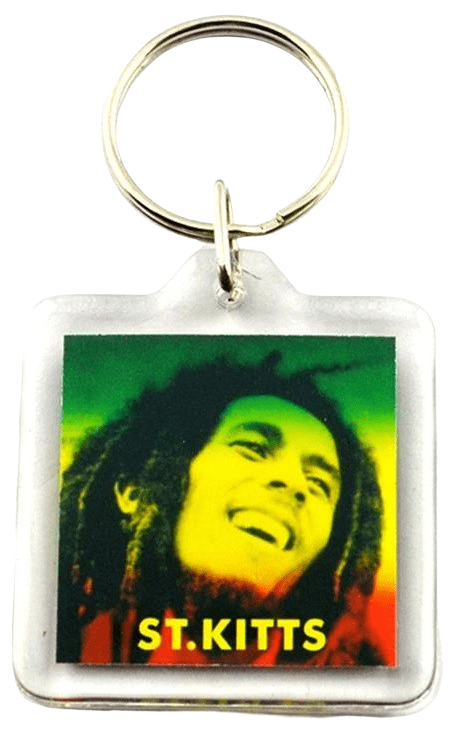 This is a square acrylic keyring with a photo of Bob Marley printed on the paper insert.