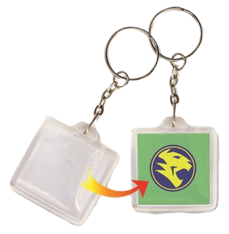 This shows how a logo insert is applied to a square acrylic keyring.