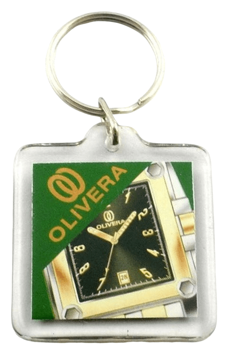 Square acrylic keyring with full colour printed logo