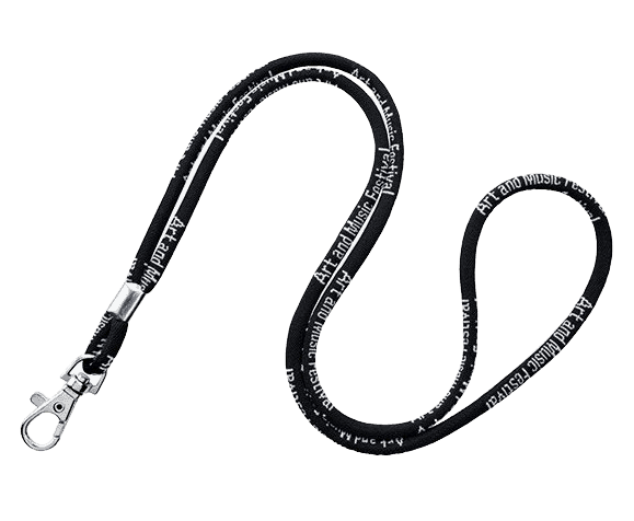 Black corded lanyard with a metal swivel hook and 1 colour logo.
