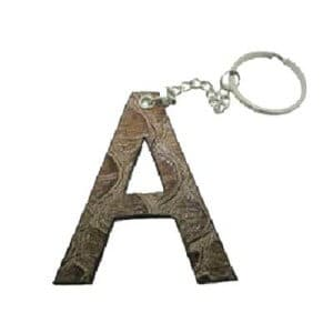Custom leather key ring cut out into the shape of an A letter.