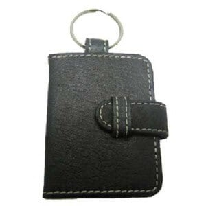 Black cutom leather keyring in shape of a mini leather wallet.