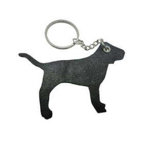 Brown custom leather keyring in shape of a dog. It has a small link chain to connect the leather to the split ring.