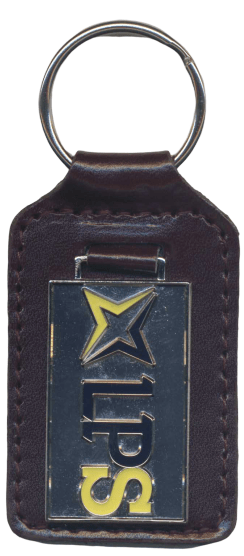 Custom leather keyring with a metal logo. The metal logo is painted in dark blue and yellow.
