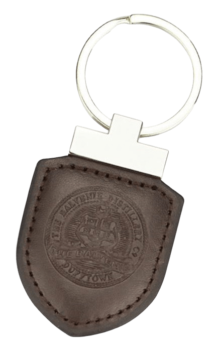 Custom leather keyring with a stamped logo. There is no clour for the logo, and this design has blended colour stiching around the edge and a split ring.