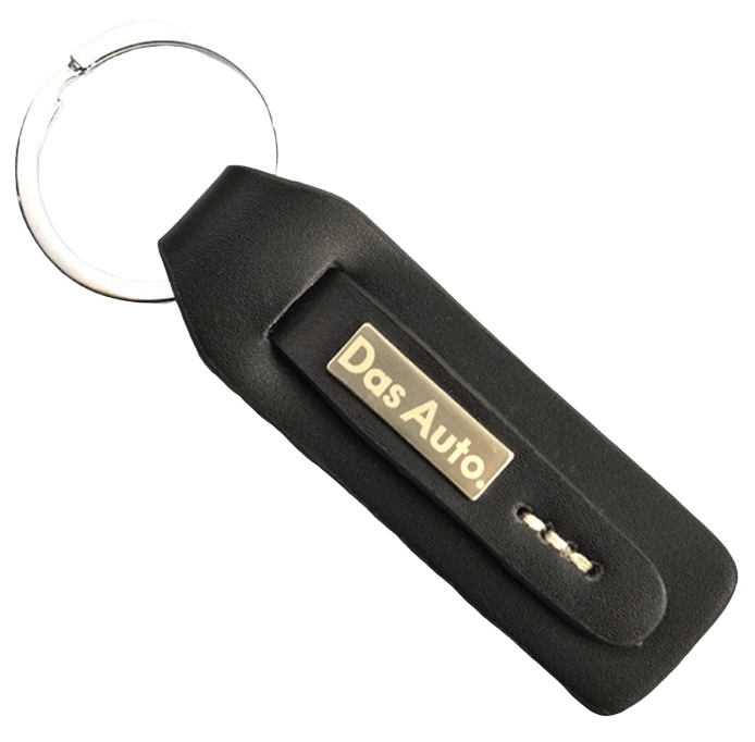 Black custom leather keyring with a metal engraved logo for an automobile manufacturer.