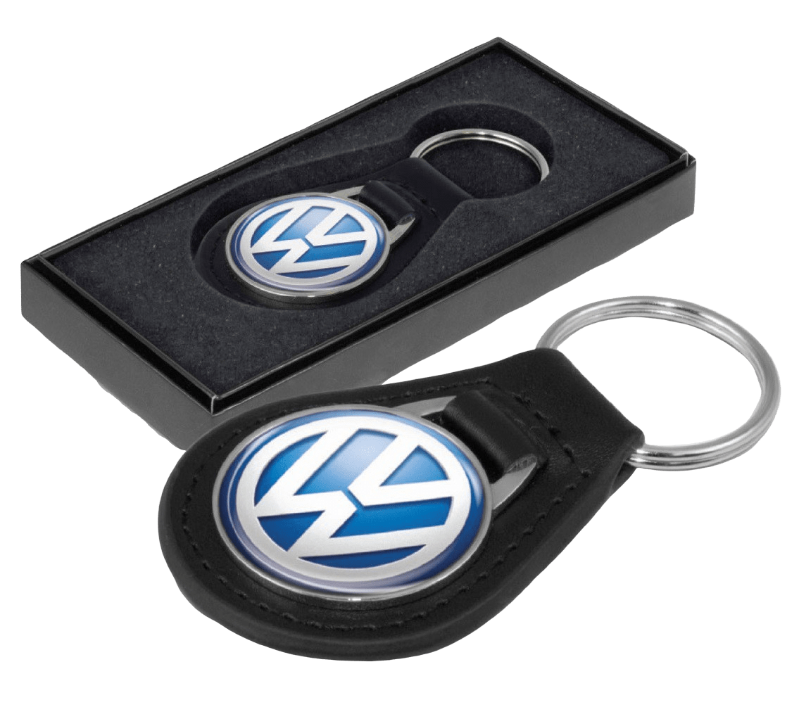 Custom leather keyring with metal colour logo for a car manufacturer. It also features a black presentation box.