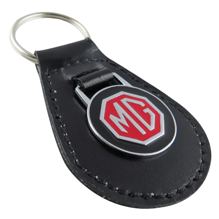 Custom leather keyring for a car brand. It has a silver metal logo attached that is painted in black and red.
