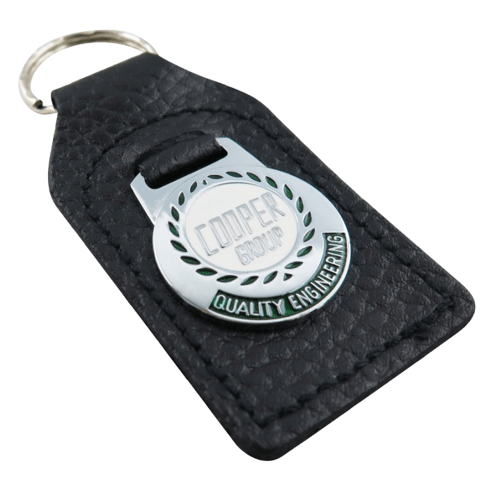 Custom leather keyring for an engineering company. It features a metal coloured logo.