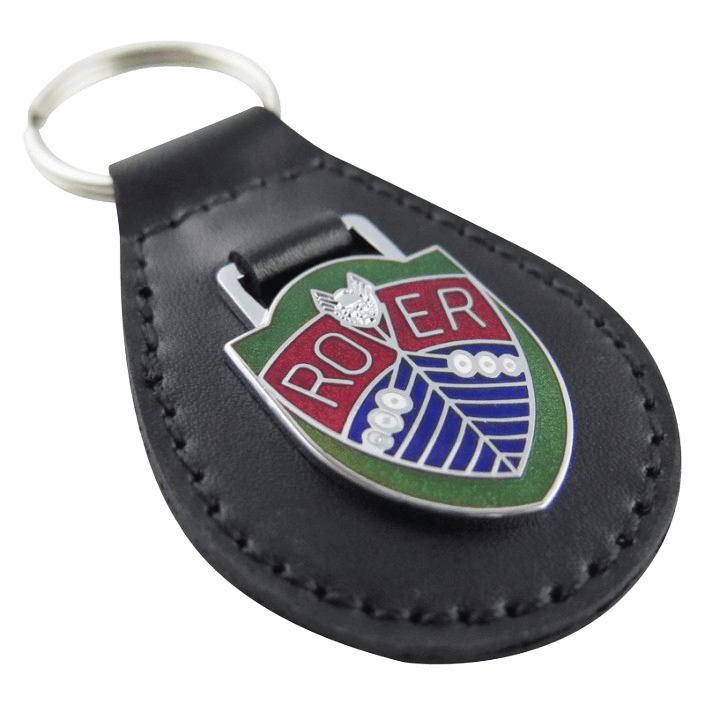 Custom leather keyring for a car maker. This design features a coloured metal logo.