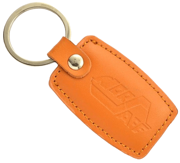 Orange custom leather keyring with a stamped logo.