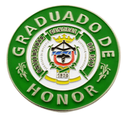 Circular custom made badge in metal for international University students. It has a dark green background and raised letting around edge in silver.