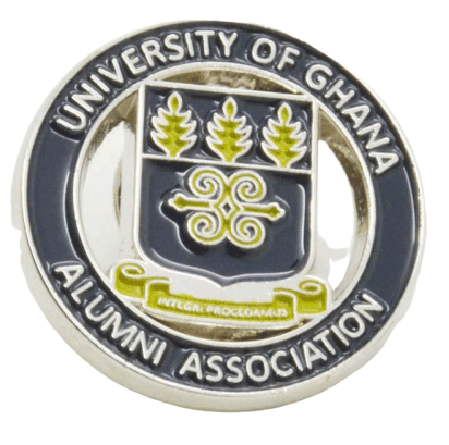 Custom metal badge for university students in Ghana. These are given out as part of the Alumni Association.