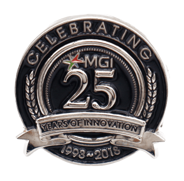 Custom metal badge for a 25 years of innovation commeration.